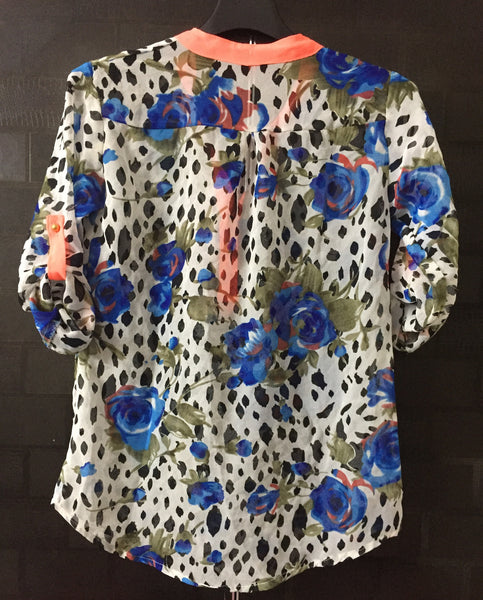 Blue Flowers Top with Neon borders