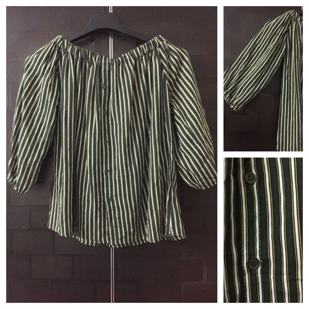 Stripes - Dark Green, Yellow and White Off shoulder top