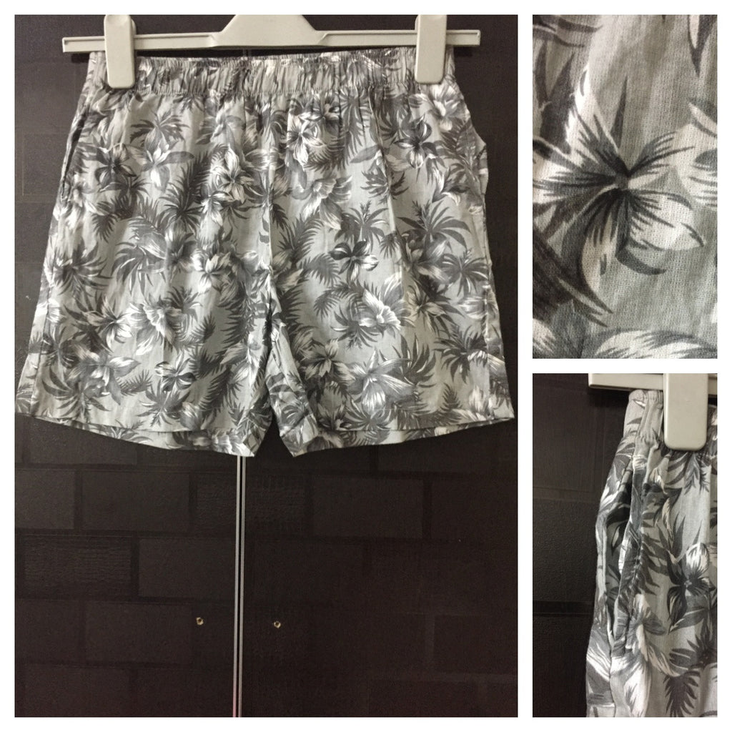 Grey and White flowers Shorts
