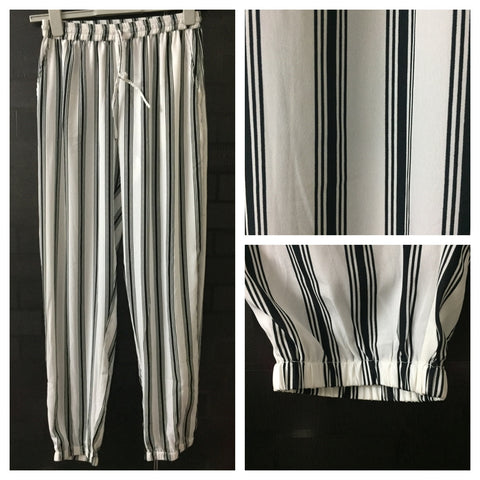 Bold White Stripes Lower with elastic on ankles