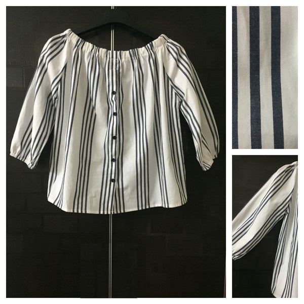 Stripes - 4 Blues and White Off shoulder top