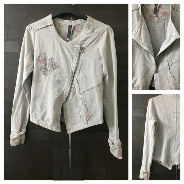 Washed Out grey, Stylish Jacket with patch-work design