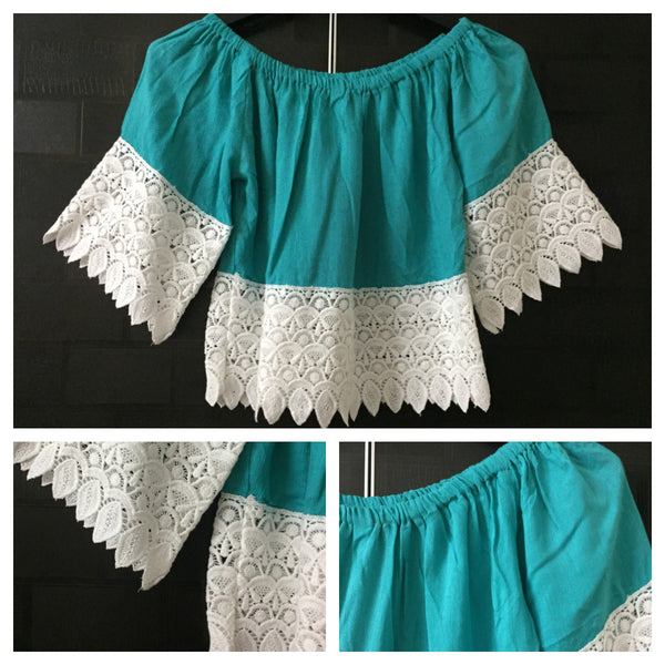 Light Blue - Short, Off Shoulder Top with Broad lace