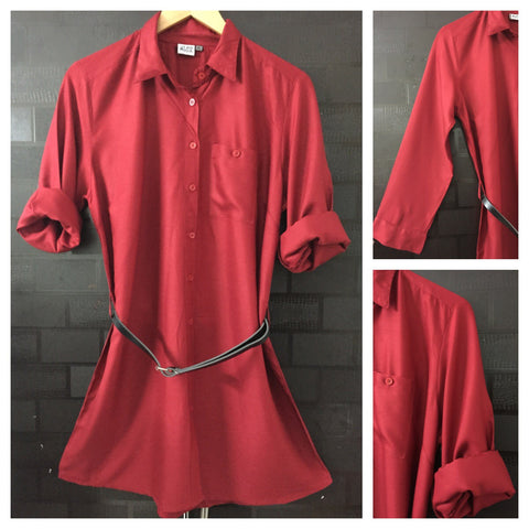 Shirtdress - Pretty Front Buttoned Red Shirtdress with black belt
