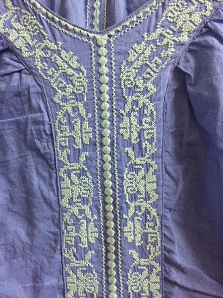 Blue Top with Light Blue Embroidery Work. - #FTFY - For The Fun Years