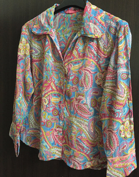 Blue base floral shirt with little sequin work - #FTFY - For The Fun Years