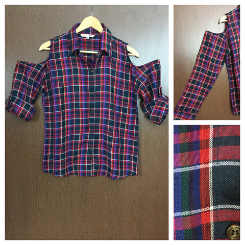 Checked Cold - Shoulder - Red , Blue with Other Colors Shirt