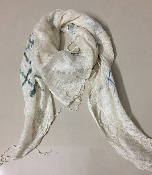 Rectangular Meshed Cream Scarf with Pained Flower