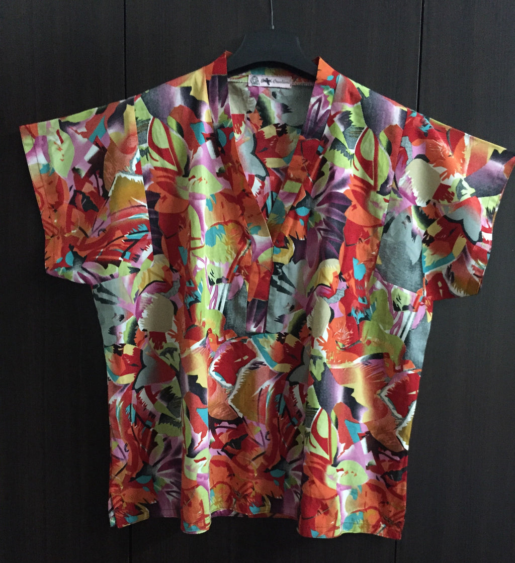 Multi-color Digital Print Floral Top with Square Sleeves