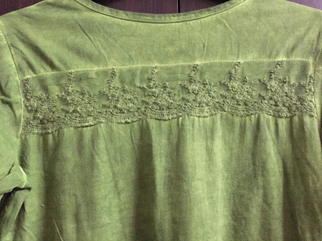 Washed out Green Full sleeves Top with lace work