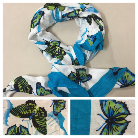 Square Blue - Green Butterfly Scarf