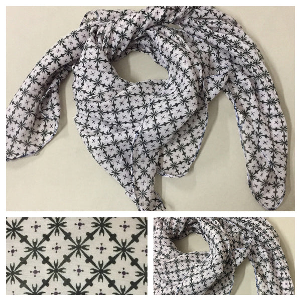 Square Light Brown Scarf with Black Design