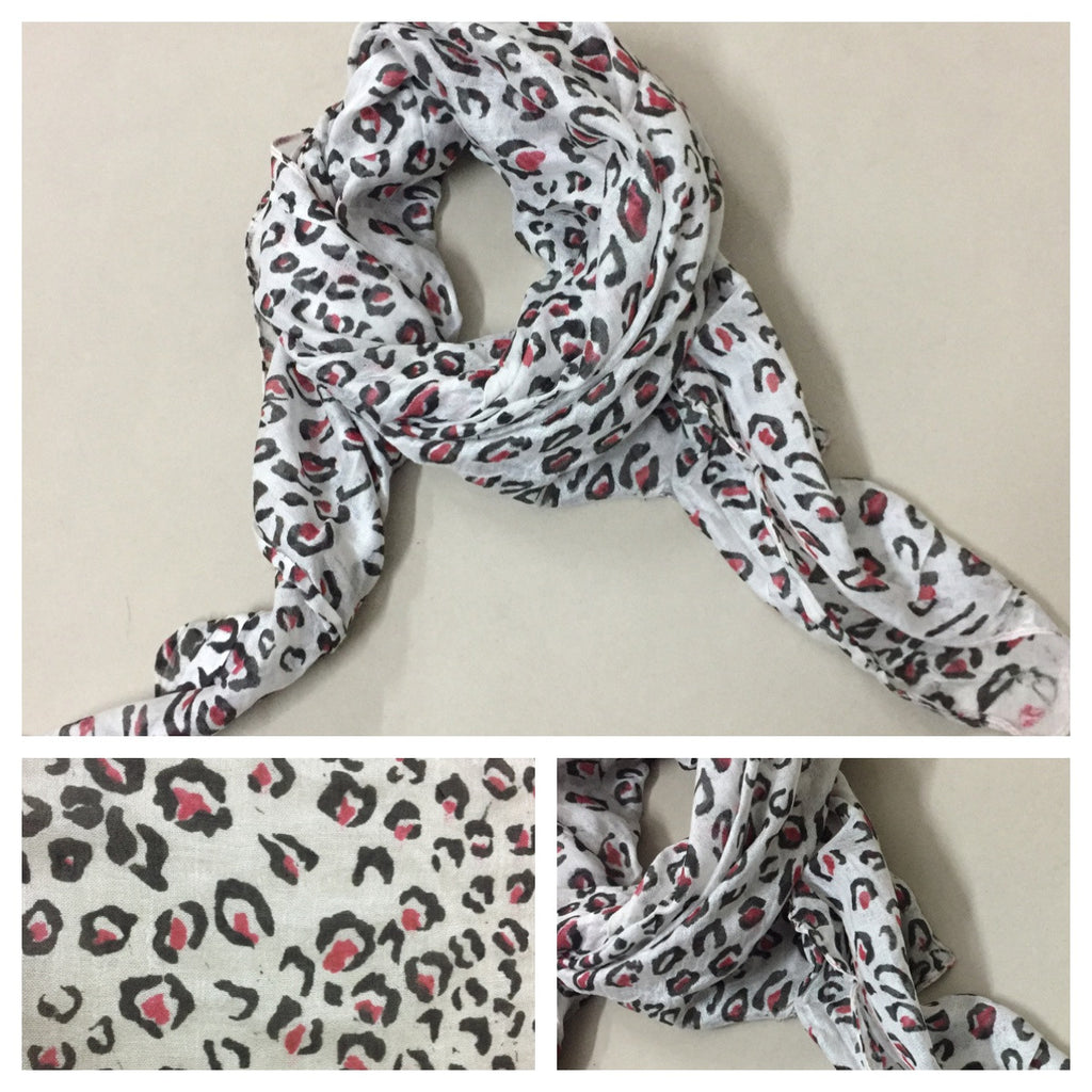 Square Pink - Black Animal Prints Scarf