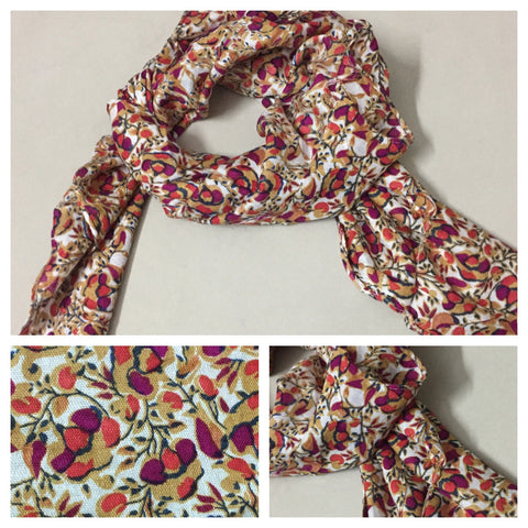 Square Red and Pink Flowers on Brown Scarf