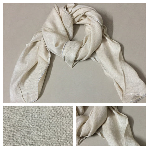 Square Little shimmer Cream Plain  Scarf