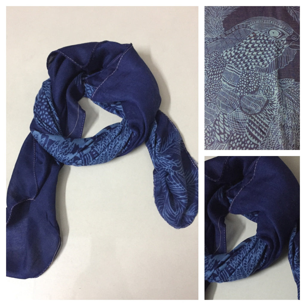 Square Light Blue Eagle on Blue Scarf