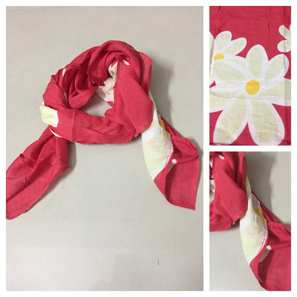 Square Light Yellow Flowers on Red Scarf