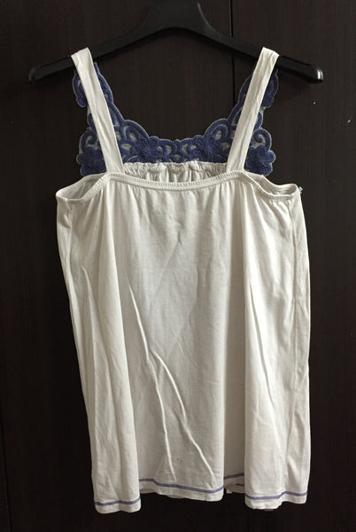 White Sleeveless Top  with thread work on neck
