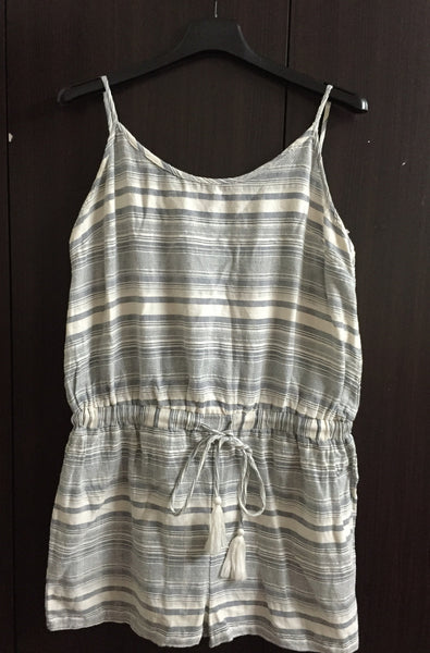 Grey and White Stripes Jump Suit