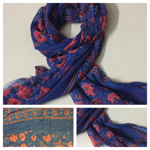 Rectangular Red Flowers on Blue Scarf