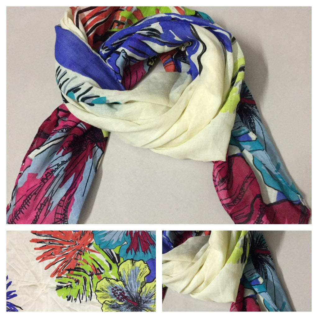 Square Vibrant Flowers on Cream Scarf