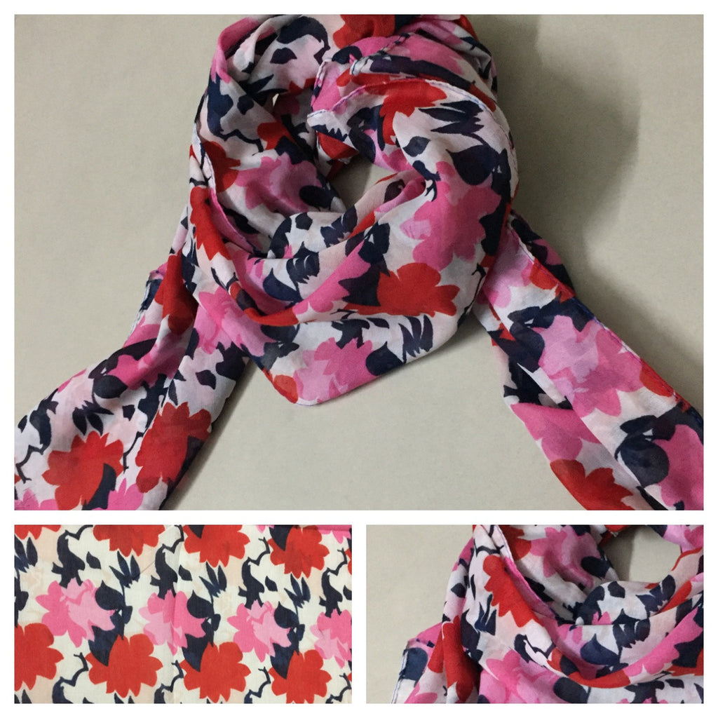 Rectangular Pink - Red Floral Scarf