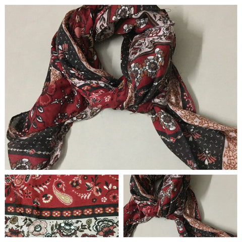 Square Reddish Brown Panel Print Scarf