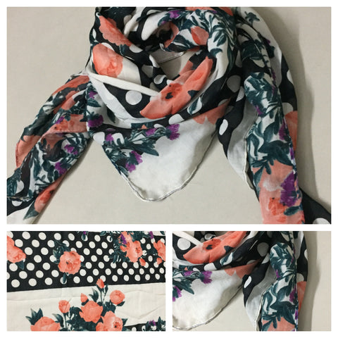 Square Polka and Stripes - Pink Floral Scarf