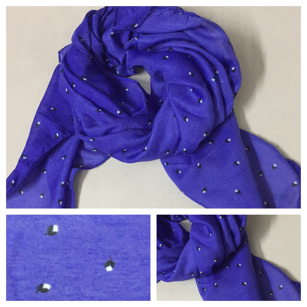 Square Tiny Flowers Blue Scarf