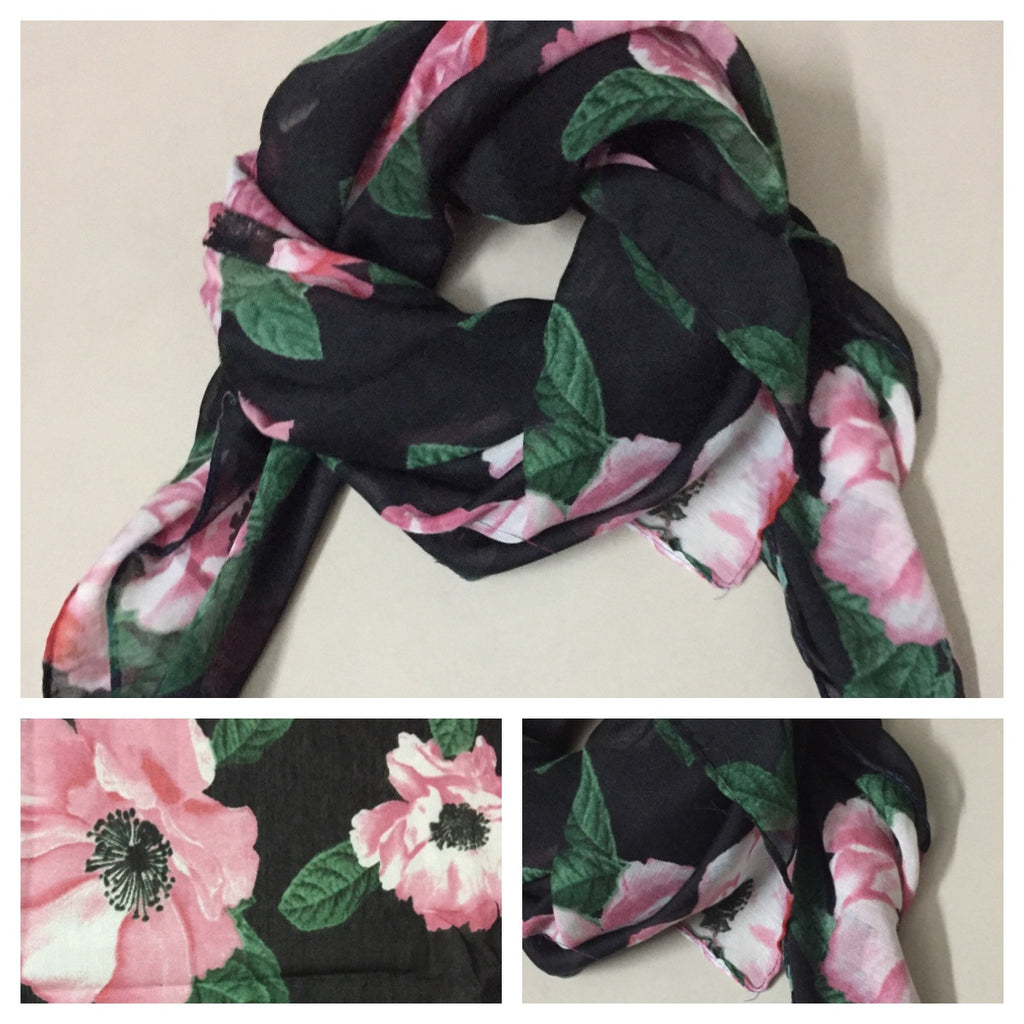 Square Pink Flowers on Black Scarf