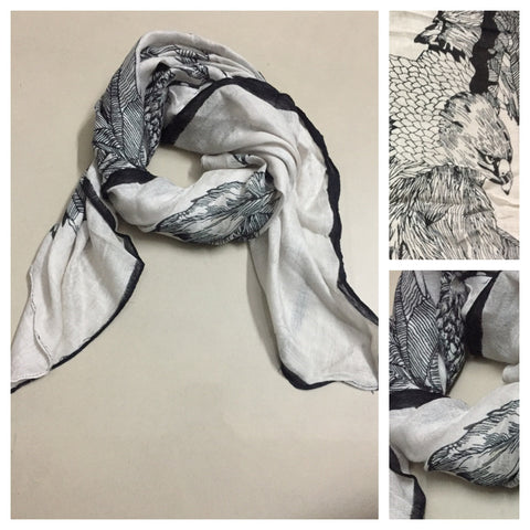 Square Black Eagle on White Scarf