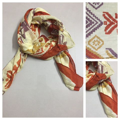 Square Light Brown Scarf with Rust and Mauve print