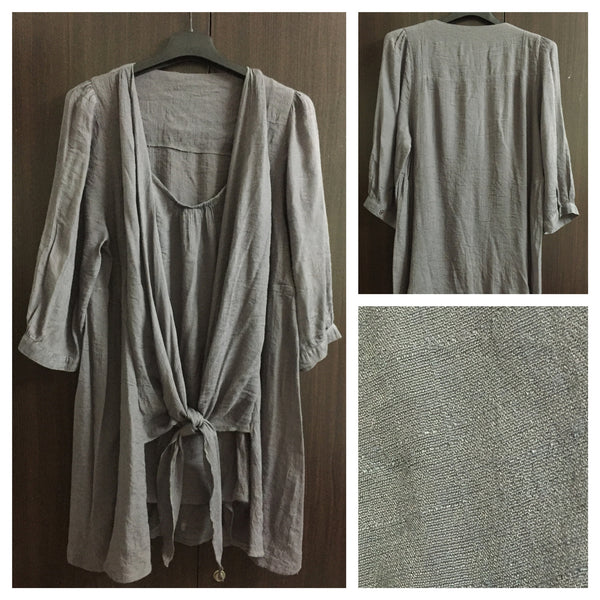 Little Shimmer Grey Long Top with front - tie