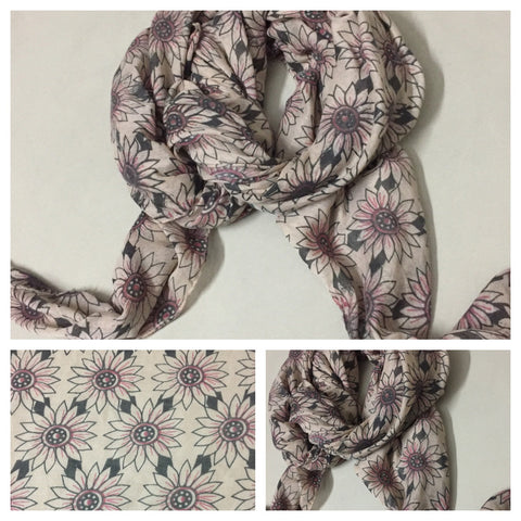 Rectangular Light Brown Floral Scarf