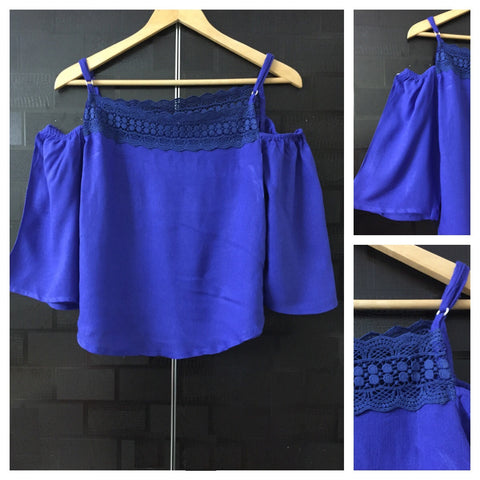 Laced Cold shoulder - Royal Blue Top with adjustable straps