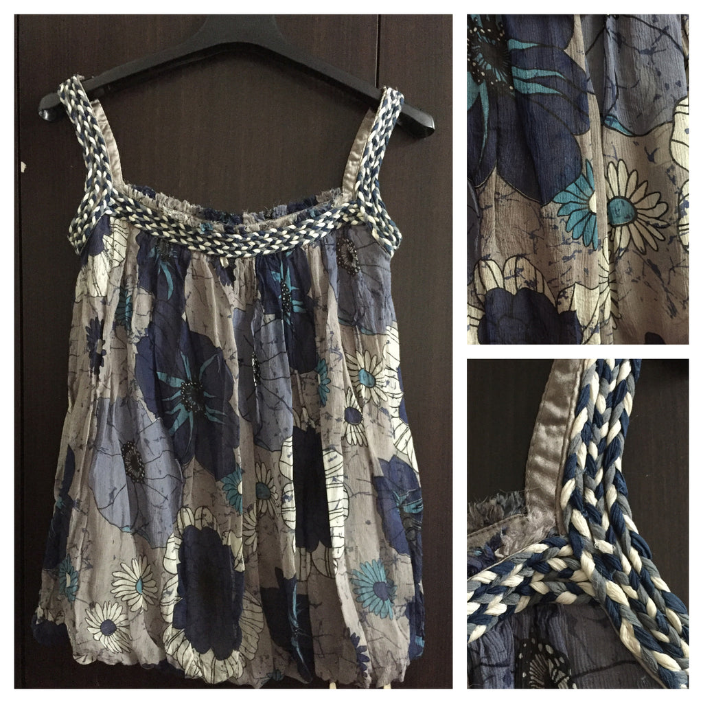 Pretty Blue and Grey Strap top with stylish knotted straps.