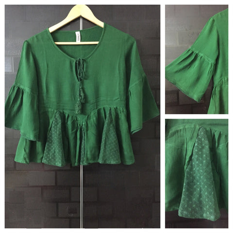 Little Flared - Green Casual Top with net design