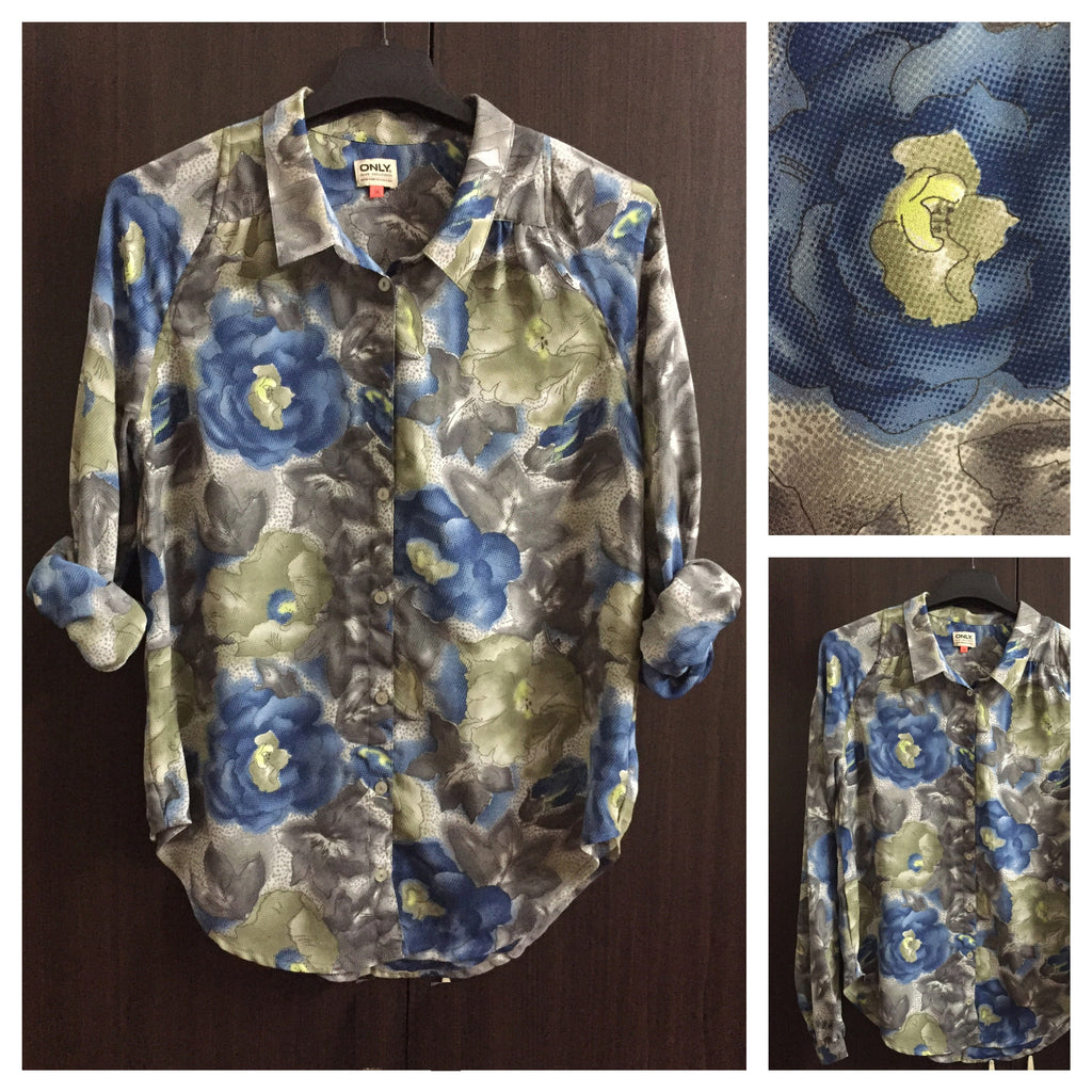 Blue - Green - Grey Floral ONLY shirt - #FTFY - For The Fun Years