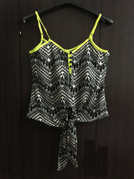 Front Tie, Black and Cream Spaghetti Top with Neon Green Straps