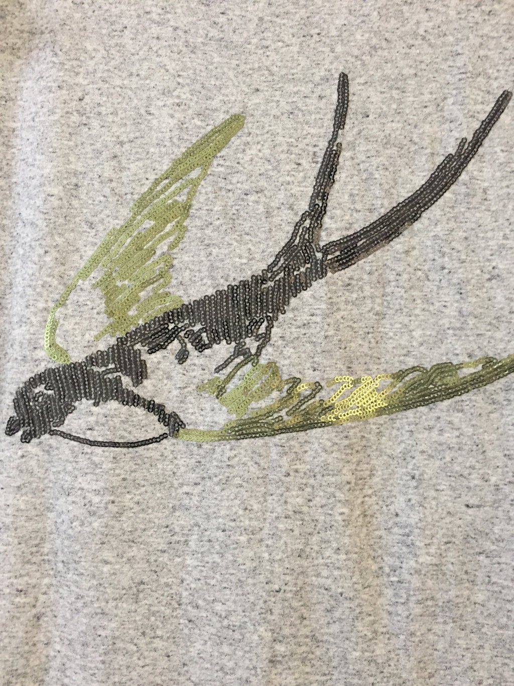 Bird - Black Spotted,Fitted, Green - Grey Sequin bird on Grey Base Tee - #FTFY - For The Fun Years