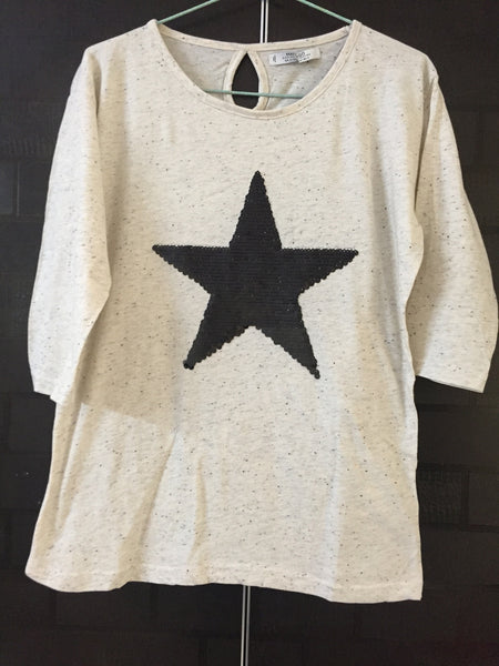 Star - Multicolor Spots,Cream Dropping Shoulders Tee with Black Sequin Star