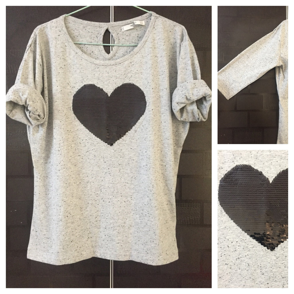 Sweet Heart - Black Dots on Grey Tee with Black Sequin Heart