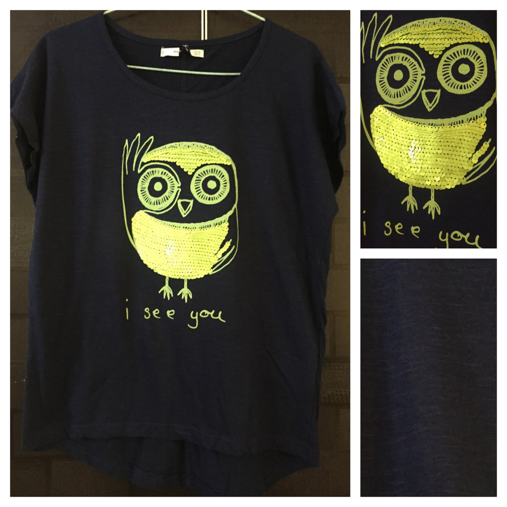Light Green Sequin I See You on Plain dark Blue Base comfy Tee