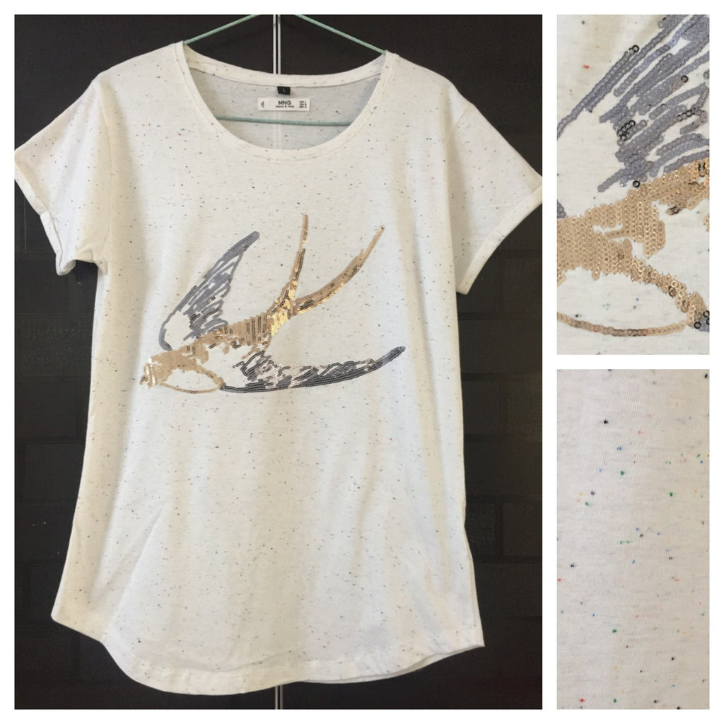 Bird - Multicolor Spots,Fitted, Bronze-Silver Sequin bird on Cream Base Tee - #FTFY - For The Fun Years