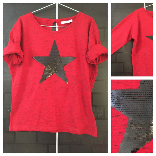 Star - Black Stripes, Red Dropping Shoulders Tee with Black Sequin Star