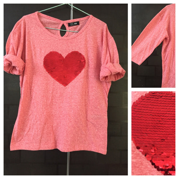 Sweet Heart - White Dots on Pink Tee with Red Sequin Heart.