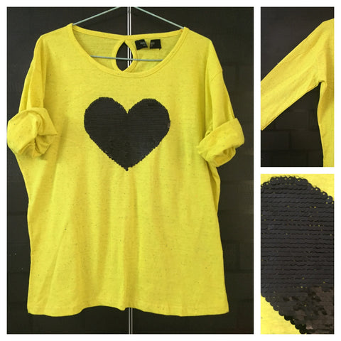Sweet Heart - Multicolor Dots on Yellow Tee with Black Sequin Heart