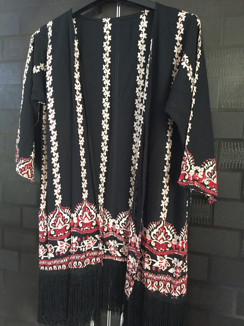 Yellowish - Pink Panel Print Shrug with Tassels.
