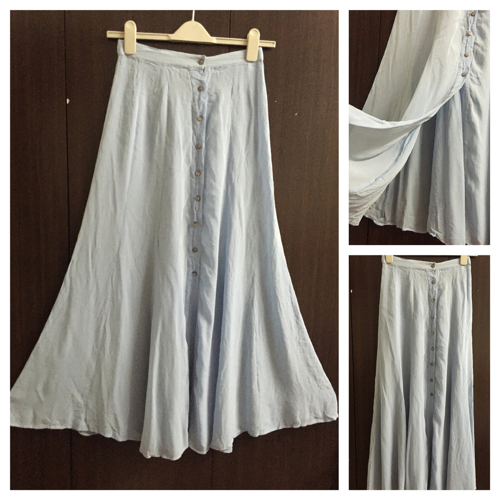 Long Light Blue Skirt with buttons.