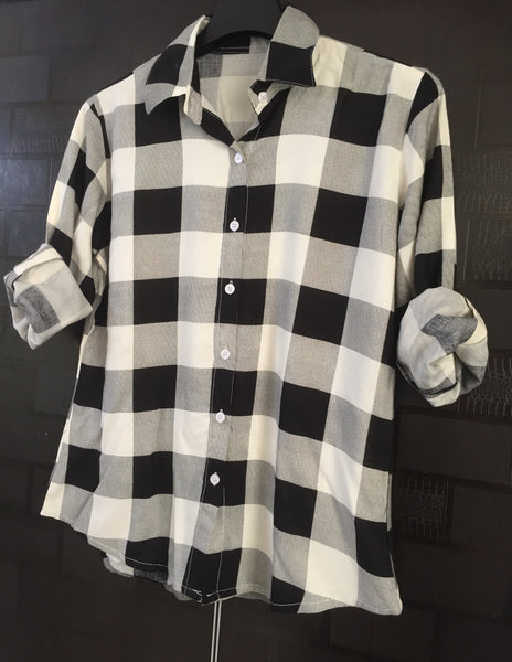 Checks - Black and White Big Checks Casual Shirt